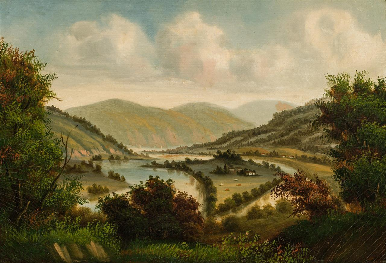 """WILLIAM GUY WALL (attributed), American/Irish (1792-1864), Farm in the Valley, Troy, New York, oil on canvas, unsigned, inscribed """"T..."""