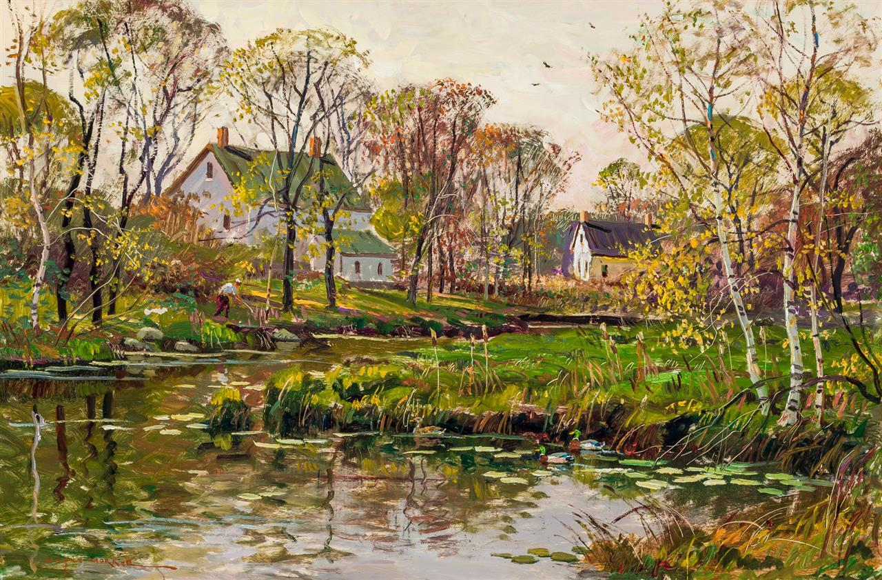 """WAYNE MORRELL, American (1923-2013), Landscape with Pond, oil on masonite, signed lower left """"Wayne Morrell"""", 24 x 36 inches"""