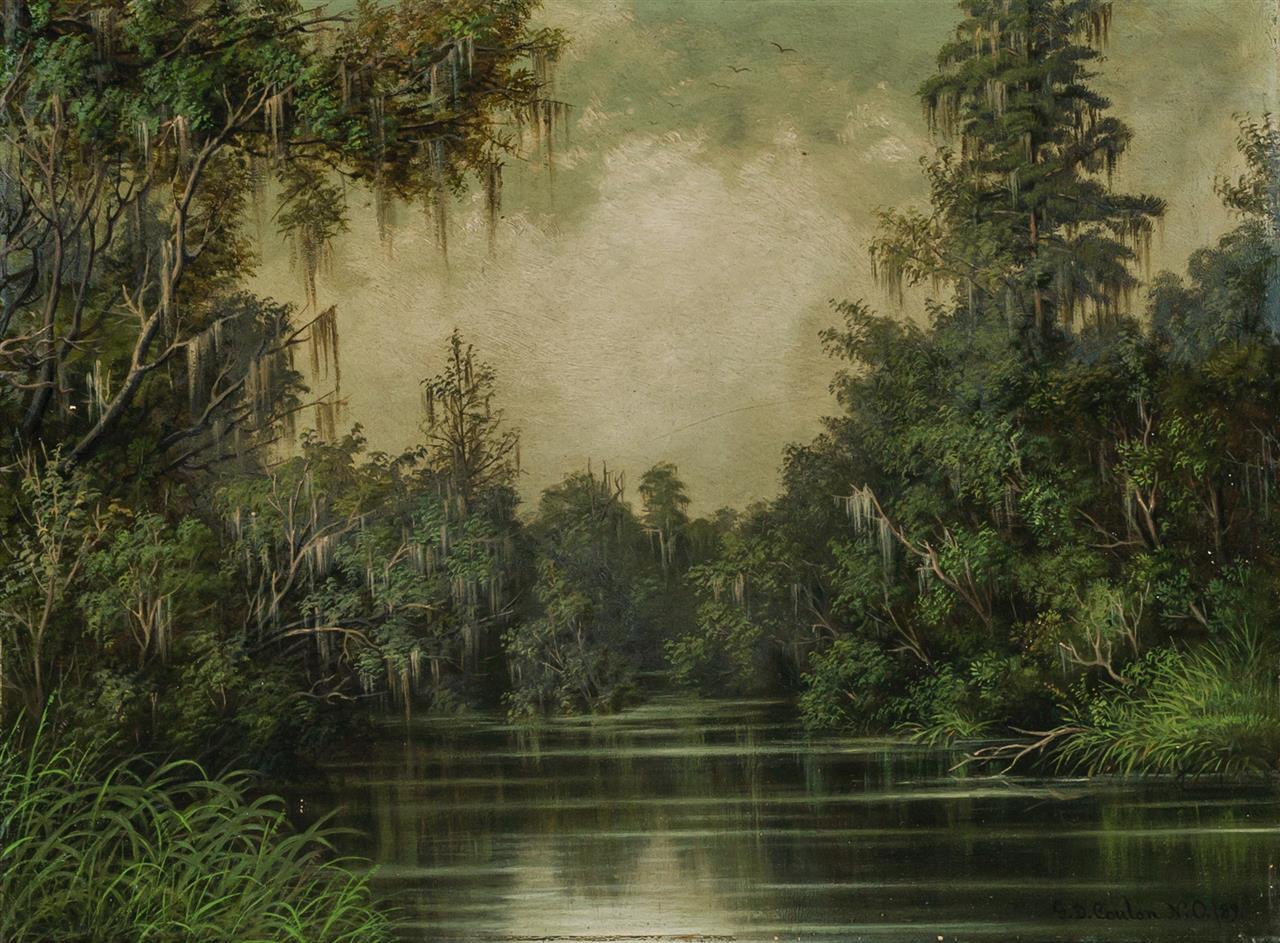 """GEORGE DAVID COULON, American/French (1822-1904), """"Louisiana Scenery, Bayou Castaine, Mandeville, Parish of St. Tammany, La"""", oil on..."""