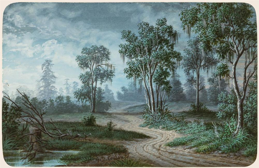 """GEORGE DAVID COULON, American/French (1822-1904), """"Louisiana Scenery"""", watercolor and gouache on paper, signed and dated lower left..."""