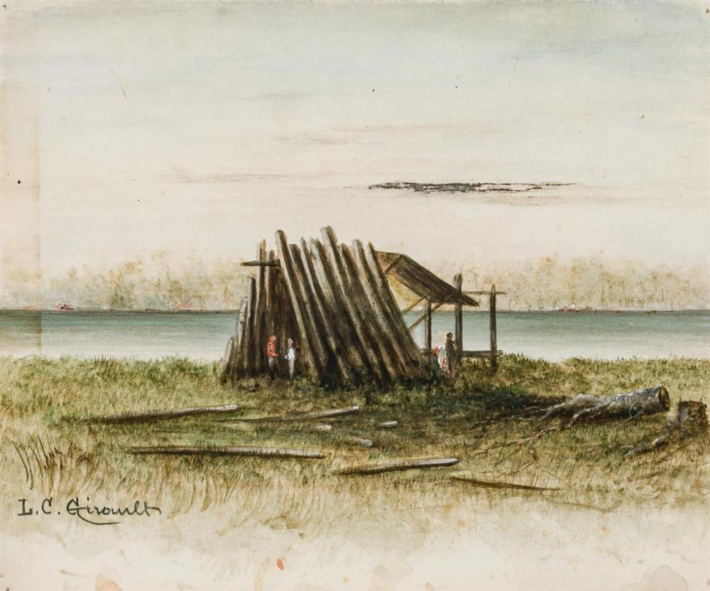 """LOUIS GIRAULT, American (d. 1892), Homestead at the River Camp at the Lean-to (A Pair), watercolor on paper, signed lower left """"L. G..."""