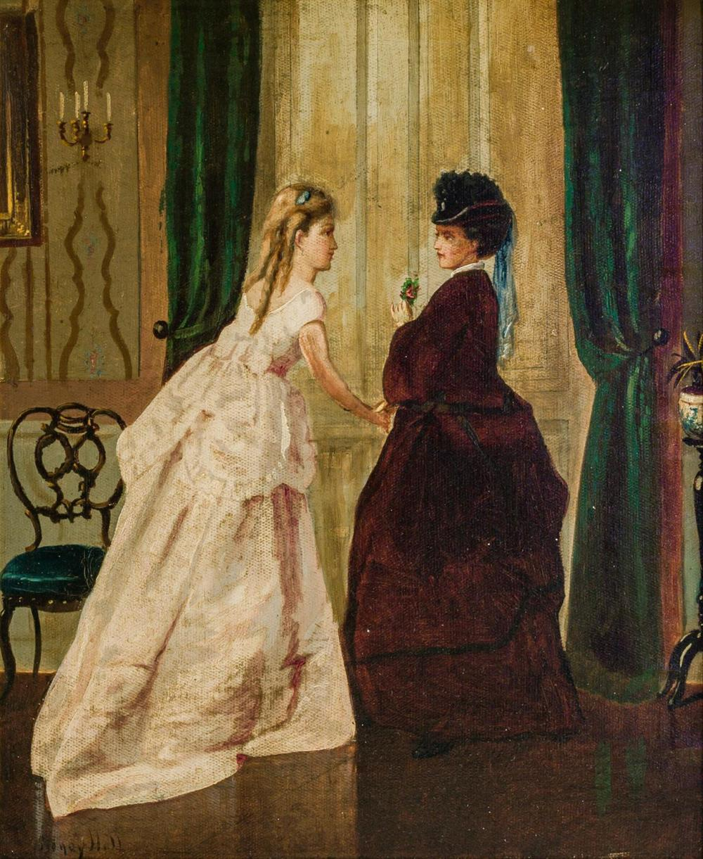 "GEORGE HENRY HALL, American (1825-1913), Confidences, oil on canvas, signed lower left ""Henry Hall"", 17 x 14 1/4 inches"