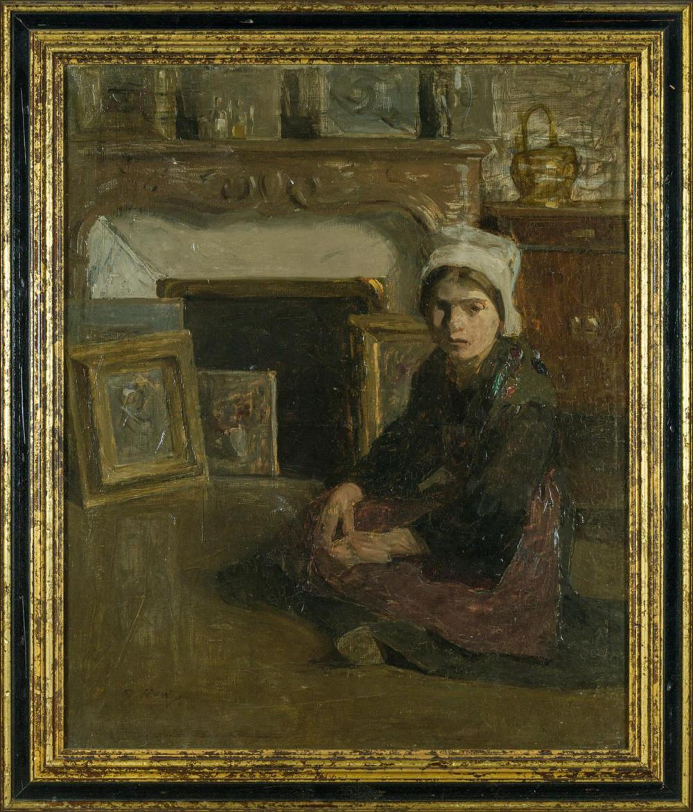 """BEATRICE JULIA HOW, Scottish (1867-1932), Model Sitting for Portrait, oil on canvas, signed lower left """"B. How"""", 25 1/2 x 21 1/4 inc..."""