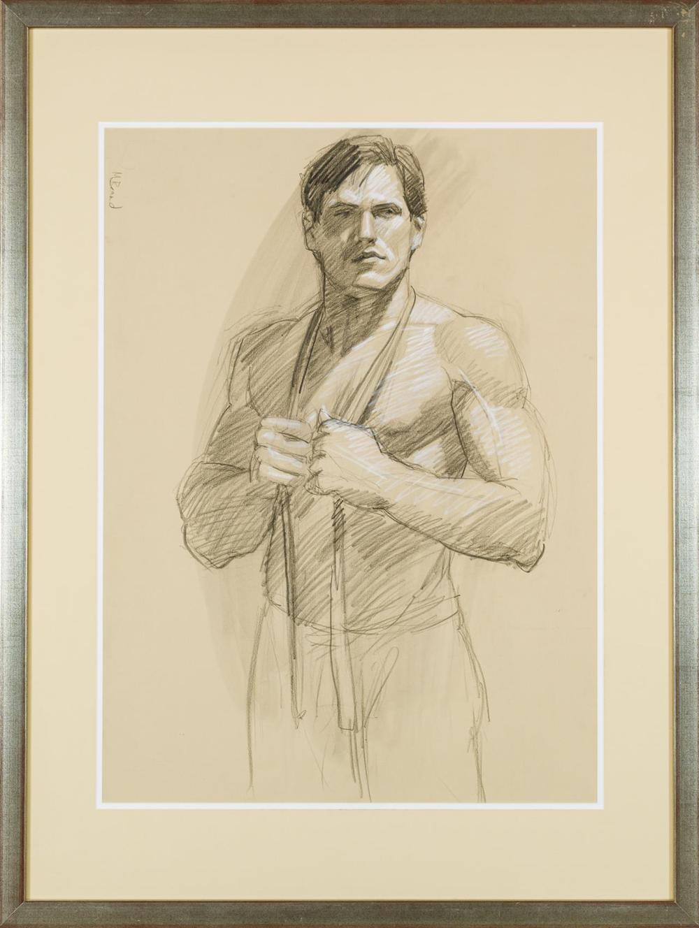 """MARK BEARD, American (b. 1956), Untitled, 2003, charcoal and crayon on paper, signed lower right """"Beard 03"""", 29 1/4 x 21 1/4 inches..."""