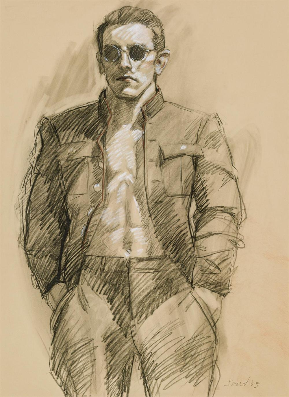 """MARK BEARD, American (b. 1956), Male Study, conte crayon and pencil on paper, signed upper left """"M Beard"""", 29 1/2 x 21 1/2 inches"""