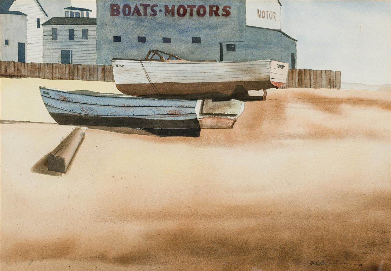 "DOUG BREGA, American (b. 1948), ""P-Town Boat Yard,"" 1991, watercolor on paper, signed lower right ""Brega"", 14 7/8 x 21 1/4 inches (s..."