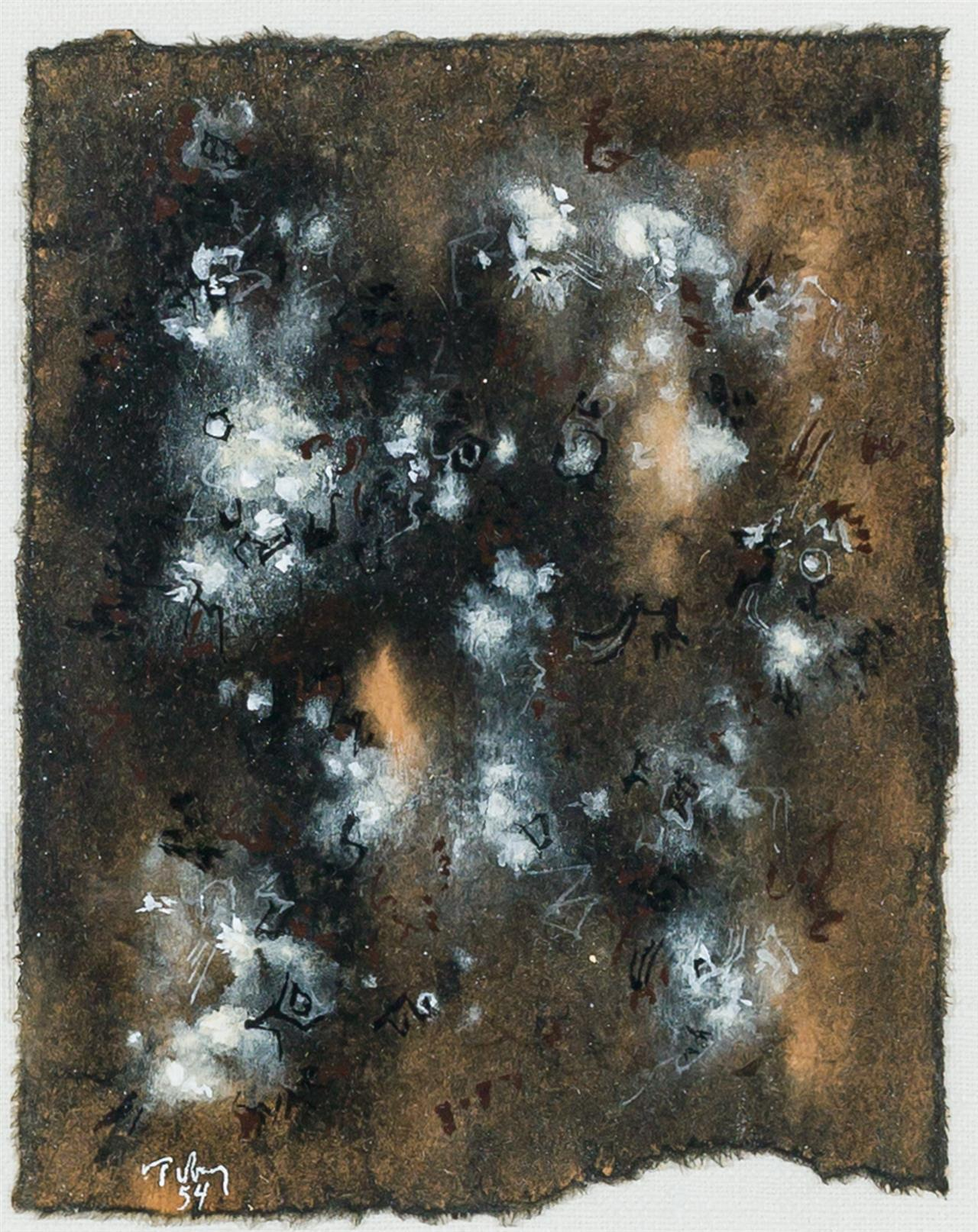 """MARK TOBEY, American (1890-1976), Untitled, tempera on paper, signed and dated lower left """"Tobey / 54"""", 6 1/8 x 4 7/8 inches"""