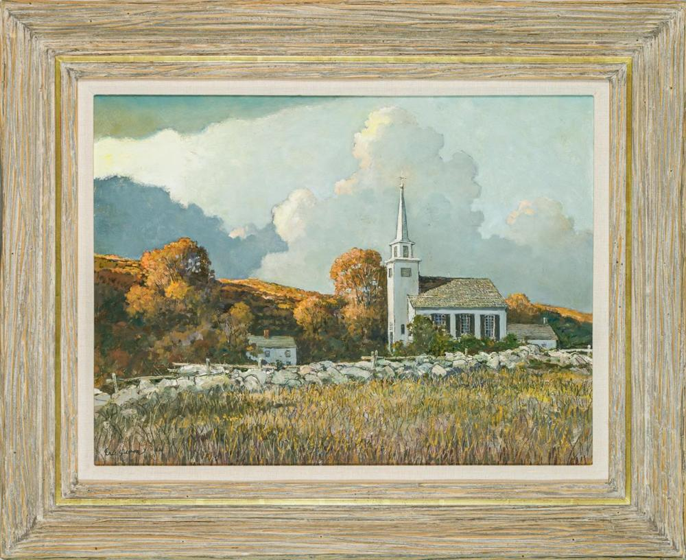 """ERIC SLOANE, American (1905-1985), """"Old North Church"""", oil on masonite, signed lower left """"Eric Sloane N.A."""", 18 x 24 inches"""