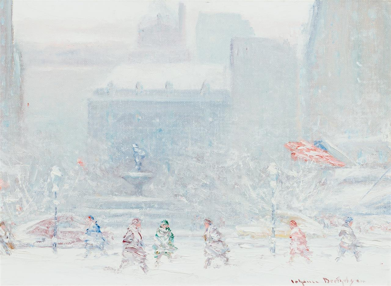 "JOHANN BERTHELSEN, American (1883-1972), Grand Army Plaza in Winter, oil on canvasboard, signed lower right ""Johann Berthelsen"", 9 x..."