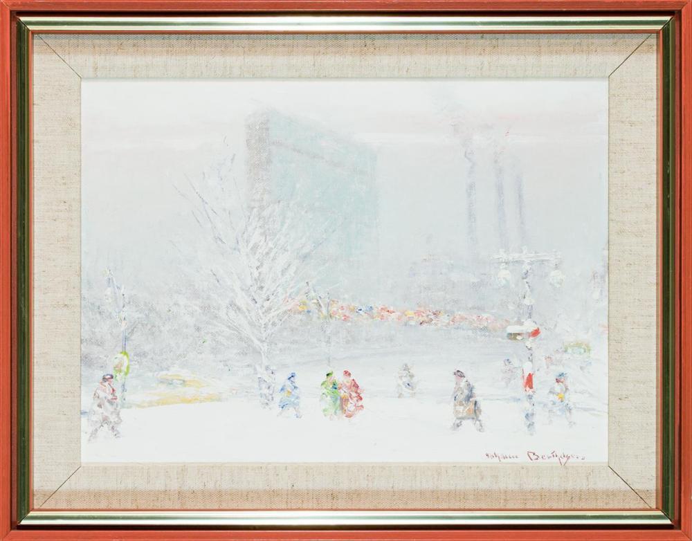 "JOHANN BERTHELSEN, American (1883-1972), United Nations Building in Winter, oil on canvasboard, signed lower right ""Johann Berthelse..."