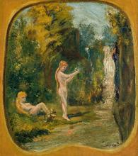 """LOUIS EILSHEMIUS, American (1864-1941), Bathers at the Waterfall, oil on board, signed lower right """"Elshemus"""", 11 3/4 x 10 1/2 inche..."""