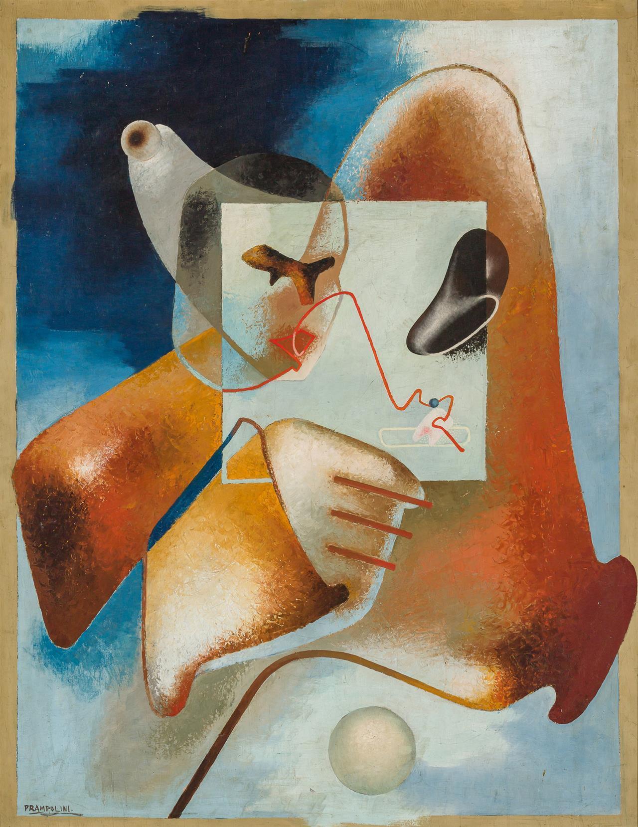 "ENRICO PRAMPOLINI, Italian (1894-1956), Surrealist Composition, oil on panel, signed ""Prampolini"" lower left, 45 3/4 x 35 inches"