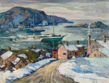 """PETER BELA MAYER, American (1887-1993), Harbor Scene, oil on canvasboard, signed """"Peter Bela Mayer"""" lower right, 14 x 18 inches"""