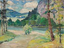 "PETER BELA MAYER, American (1887-1993), Mountain Landscape, oil on canvasboard, signed ""Peter Bela Mayer"" lower right, 14 x 18 inche..."