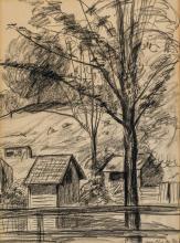 "GUY PENE DU BOIS, American (1884-1958), Connecticut Farm Scene, charcoal and pencil on paper, signed lower right ""Guy Pene Du Bois"",..."