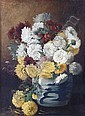 HIRST, CLAUDE RAGUET American (1855-1942) Chrysanthymums in a Canton Jar, oil on canvas, 16 x 12, signed lower right. Provenance: Private collection, Albertson, New York.  8000/12000, Claude Hirst, Click for value