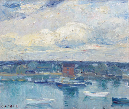 KAELIN, CHARLES SALIS American (1858-1929) Boats in a Harbor, oil on board, 11 x 12 3/4, signed lower left.  2500/3500