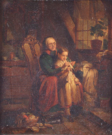 VOLZ, HERMANN German (1814-1894) A Pair (2) 1. Learning to Knit, 2. Holding the Yarn, both oil on canvas, 12 1/2 x 10 3/4, signed lower left. Provenance: A Massachusetts estate.  2000/3000