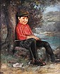 WITKOWSKI, KARL American (1860-1910) Young Fisherman, oil on canvas on board, 24 x 20, signed lower left. Provenance: Private collection, Ohio.  6000/8000, Karl Witkowski, Click for value