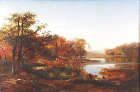 CARMIENCKE, JOHANN HERMANN American (1810-1867) River Landscape in Autumn, oil on canvas, 24 x 36, signed lower right and dated 1860. Provenance: A private collection, New York State.  8000/12000