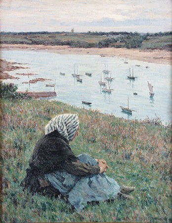 SMITH, ELMER BOYD American (1860 - 1943) Resting by the River, France, oil on canvas on board, 18 1/2 x 14 1/2, signed lower right. Provenance: R. DiMaggio, Orlando, Florida.  10000/15000
