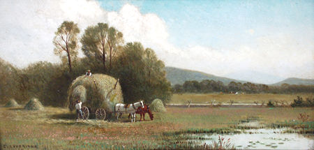 LOVERIDGE, CLINTON American (1824-1902) A Pair (2), 1. Landscape with Hay Wagon, Figures and Pond, 2. Sunset Lake with Boaters, Bridge and Mountain, both oil on board, 6 3/8 x 12 3/8, signed lower right.  2500/3500