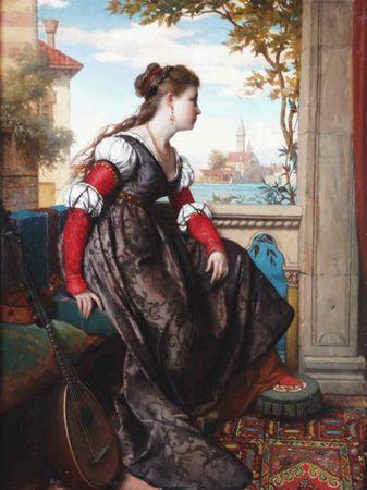 OUDERAA, PIET VAN DEN Belgian (1841-1915) Daydreaming, oil on panel, 22 1/4 x 16 3/4, signed lower right.  15000/20000