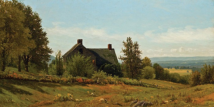 JAMES RENWICK BREVOORT, American (1832-1918), A View from the Farm, oil on canvas, signed lower left., 14 x 27 1/2