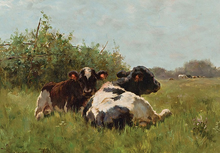 HENRY SINGLEWOOD BISBING, American (1849-1933), Cows in a Pasture, oil on canvas, signed lower left and inscribed Paris., 12 1/2 x 1...
