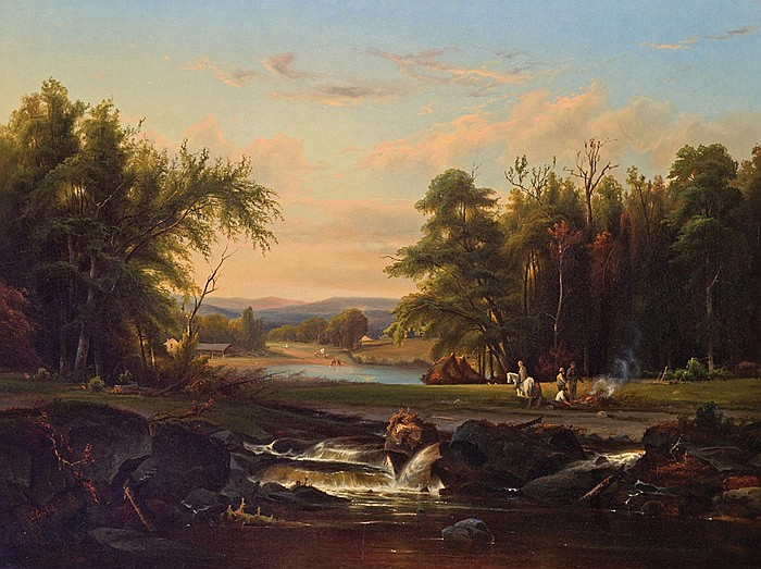 MAX EGLAU, American (b. 1825), Campfire by a Lake, oil on canvas, signed lower left., 30 x 40