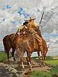 CHARLES XAVIER HARRIS American (b. 1856) Plainsmen on Horseback oil on canvas, panel backed, signed lower left.