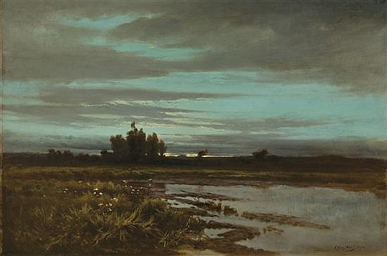 ARTHUR V. DIEHL American (1870-1929) Marsh at Dusk oil on canvas, signed lower right and dated 1893.