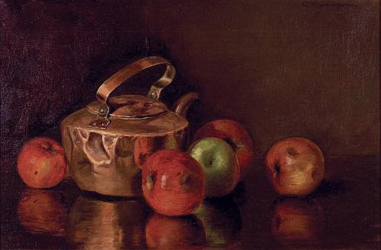 CHARLES ALBERT BURLINGAME American (1860-1930) Still Life with Apples and Copper Kettle oil on canvas, signed upper right.