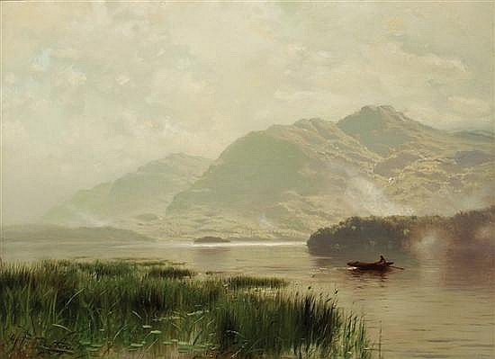 ARTHUR PARTON American (1842-1914) Morning Row on the Lake oil on canvas, signed lower left.