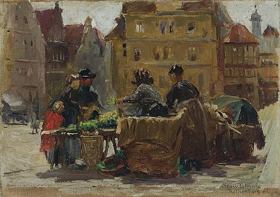 STACY TOLMAN American (1860-1934) The Market Place oil on board, signed lower right.