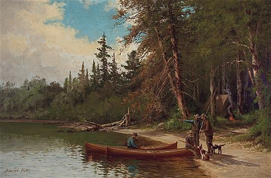 EDWARD HILL American (1843-1923) Camping on the Lake Shore oil on canvas, signed lower left.