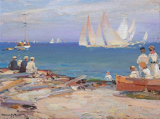 WALTER GRANVILLE-SMITH American (1870-1938) Watching the Races oil on canvas board, signed lower left and dated 1918.