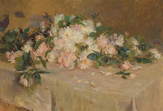 WILTON ROBERT LOCKWOOD American (1861-1914) Roses on a Tabletop oil on canvas, unsigned. Inscribed