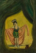 """LOUIS EILSHEMIUS, American (1864-1941), The Performance, oil on board, signed lower right """"Eilshemius"""", 11 1/2 x 8 1/4 inches"""
