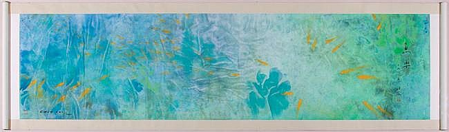 CHEN CHI, American/Chinese (1912-2005), Koi Pond, watercolor, signed lower left and dated 1981., 38 x 145 (sight)