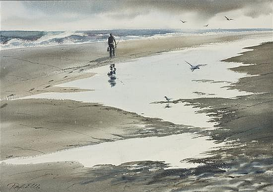 RAY G. ELLIS, American (b. 1921), Fisherman on a Beach, watercolor, signed lower left., 20 1/2 x 28 1/2