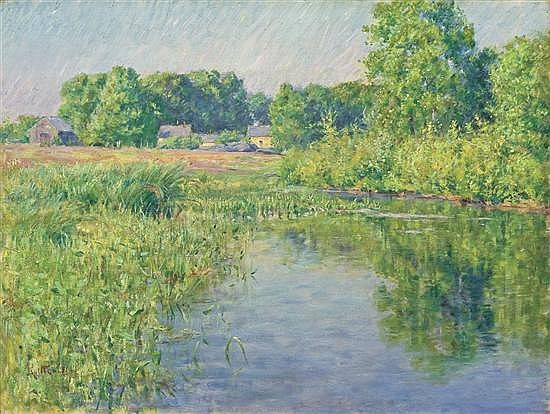 LOUIS RITTER, American (1854-1892), Summer Reflections, oil on canvas, signed lower left and dated 1891., 18 x 24