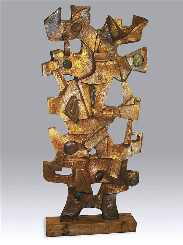 CLAIRE Mc CARTHY FALKENSTEIN, American (1908 - 1997), Untitled, copper and glass, initialed and dated 72., 86 1/2