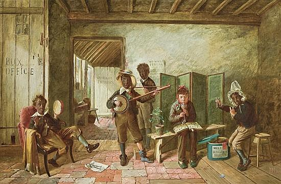 CHARLES HUNT, British (1803-1877), The Minstrel Show, oil on canvas, initialed lower right and dated '73., 24 x 36