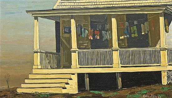 STEPHEN MORGAN ETNIER, American (1903-1984), The Front Porch, Evening, oil on canvas, signed lower right and dated 1966., 11 1/2 x 1...