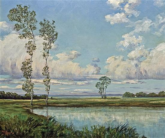 WALTER KOENIGER, American (1881-1943), Sunlit Landscape with Pond, oil on canvas, signed lower left and dated '14., 26 x 31