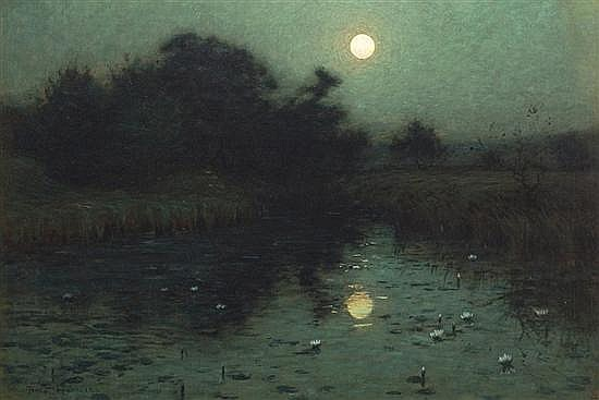BIRGE HARRISON, American (1854-1929), Moonlight Over a Pond, oil on canvas, signed lower left., 22 x 32