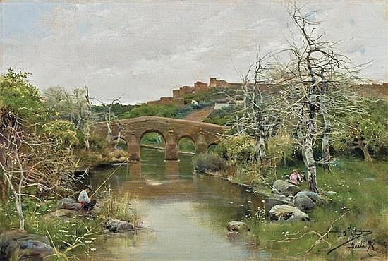 MANUEL GARCIA Y RODRIGUEZ, Spanish (1863-1925), Fishing by a Bridge, oil on canvas, signed lower right and inscribed