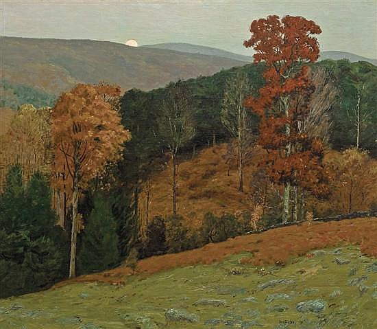 BEN FOSTER, American (1852-1926), Autumn Sunrise, oil on canvas, signed lower right., 42 x 48