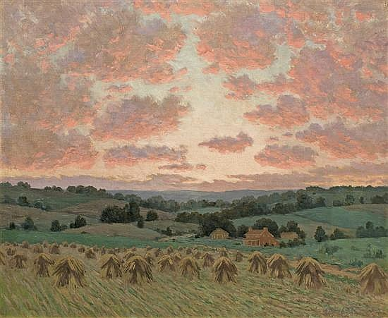 WILLIAM ANDERSON COFFIN, American (1855-1925), Pink Sky Over the Haystacks, oil on canvas, signed lower right., 25 x 30
